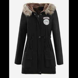 Jackets & Blazers - Patched Faux Fur Collar Hooded Coat